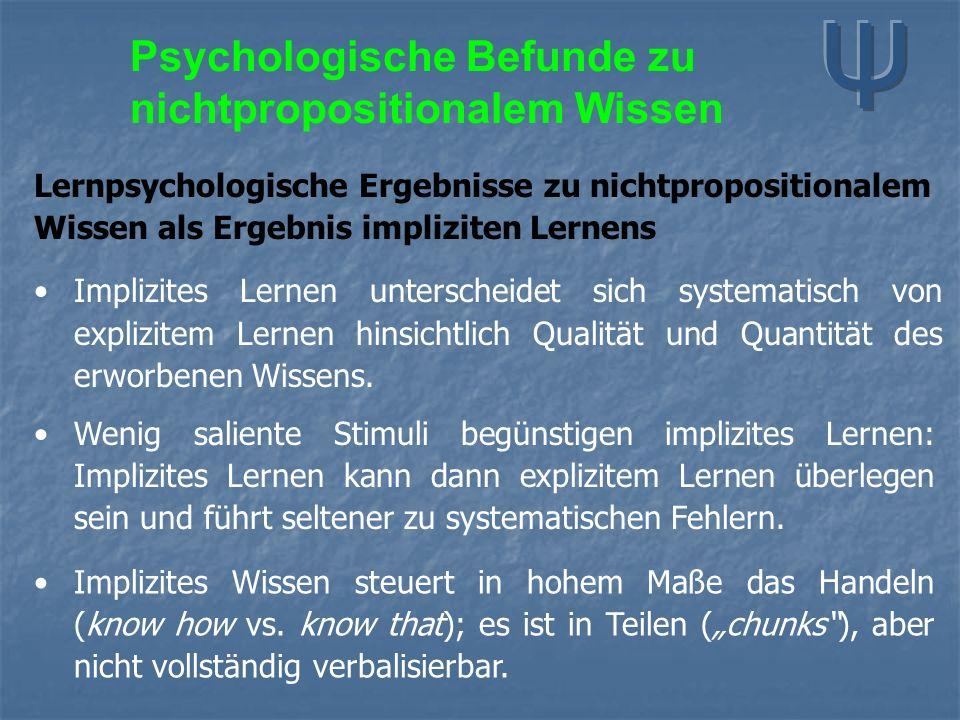 Lernpsychologische Ergebnisse zu nichtpropositionalem Wissen als Ergebnis impliziten Lernens Implizites Lernen unterscheidet sich systematisch von explizitem Lernen hinsichtlich Qualität und Quantität des erworbenen Wissens.