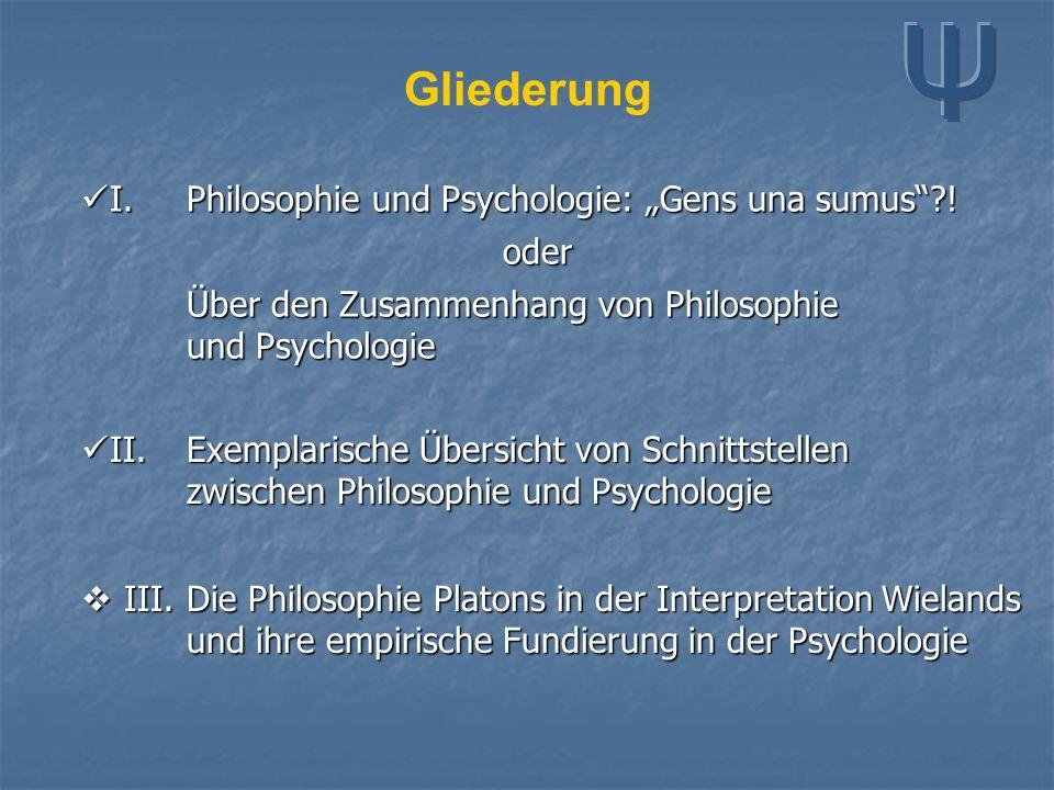 Gliederung II.Exemplarische Übersicht von Schnittstellen zwischen Philosophie und Psychologie II.Exemplarische Übersicht von Schnittstellen zwischen P