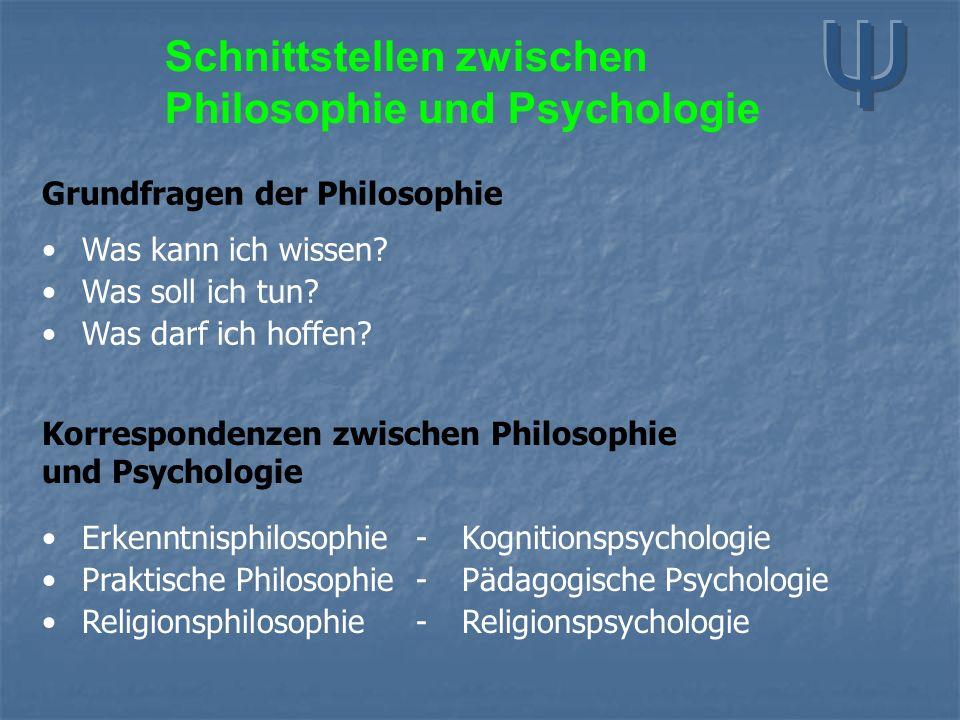Schnittstellen zwischen Philosophie und Psychologie Grundfragen der Philosophie Was kann ich wissen? Was soll ich tun? Was darf ich hoffen? Korrespond