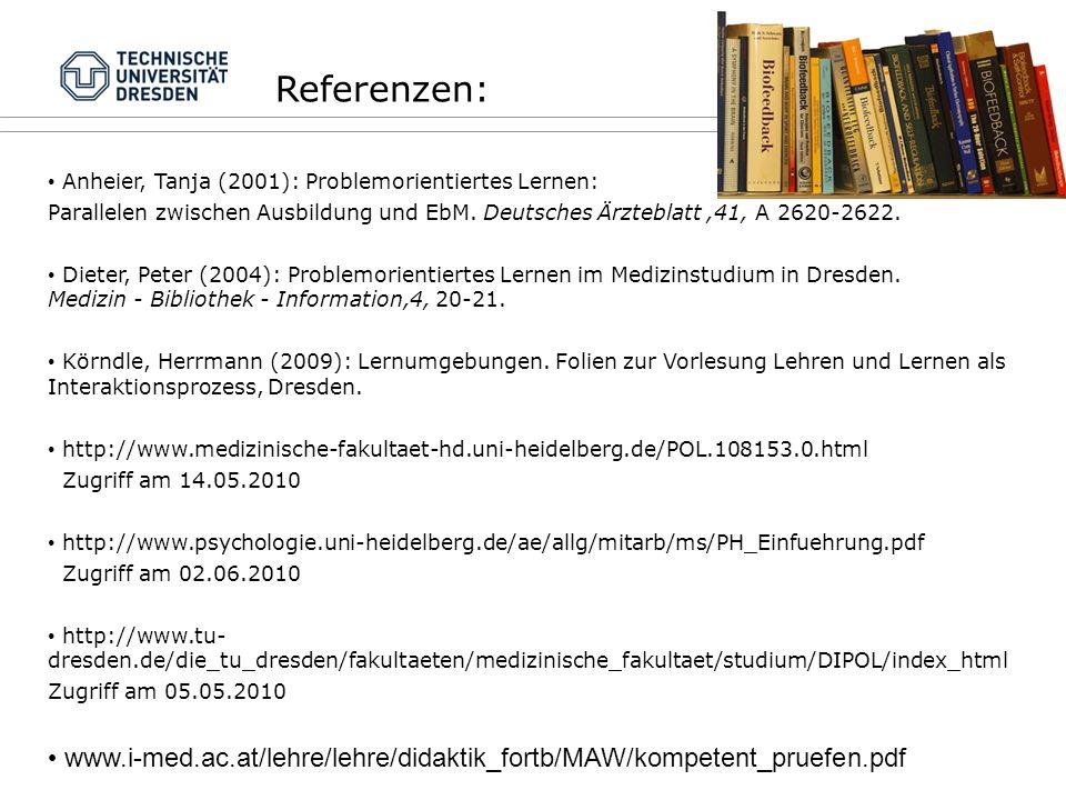 Referenzen: Anheier, Tanja (2001): Problemorientiertes Lernen: Parallelen zwischen Ausbildung und EbM.