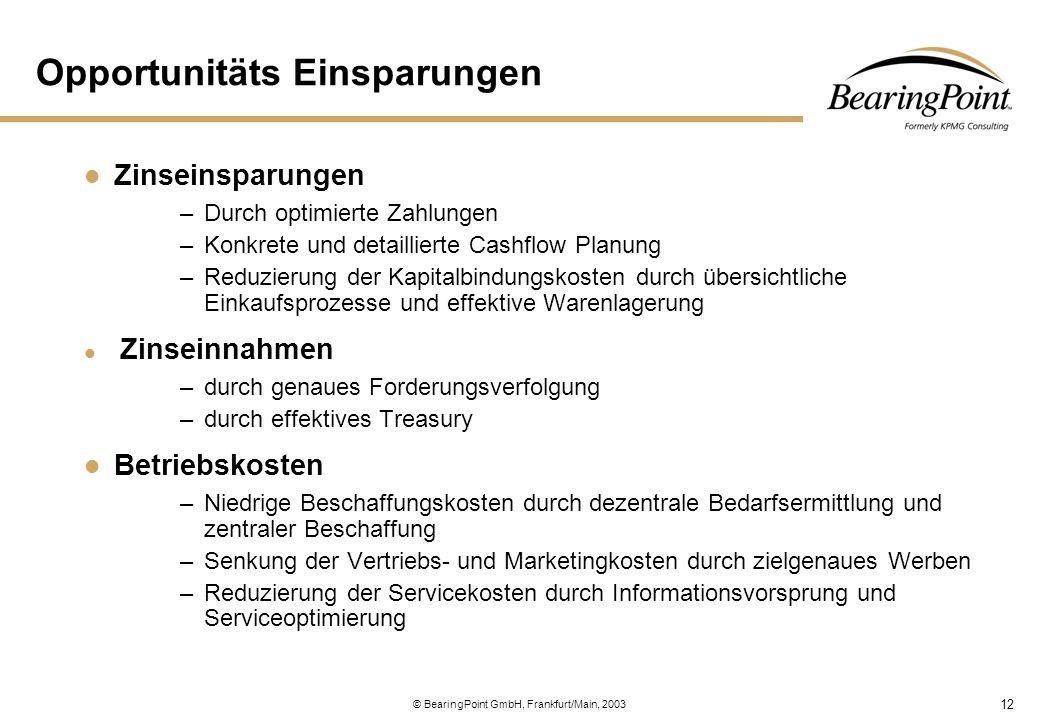 12 © BearingPoint GmbH, Frankfurt/Main, 2003 Opportunitäts Einsparungen Zinseinsparungen –Durch optimierte Zahlungen –Konkrete und detaillierte Cashfl