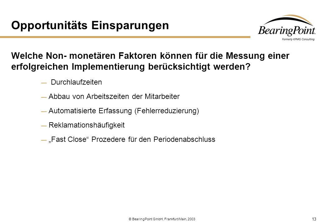 13 © BearingPoint GmbH, Frankfurt/Main, 2003 Opportunitäts Einsparungen Welche Non- monetären Faktoren können für die Messung einer erfolgreichen Impl