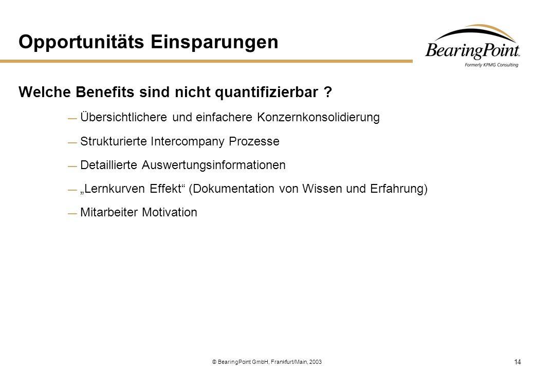 14 © BearingPoint GmbH, Frankfurt/Main, 2003 Opportunitäts Einsparungen Welche Benefits sind nicht quantifizierbar ? — Übersichtlichere und einfachere