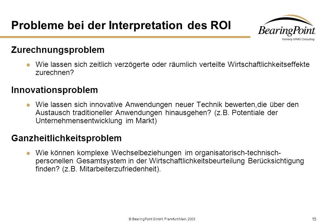 15 © BearingPoint GmbH, Frankfurt/Main, 2003 Probleme bei der Interpretation des ROI Zurechnungsproblem Wie lassen sich zeitlich verzögerte oder räuml