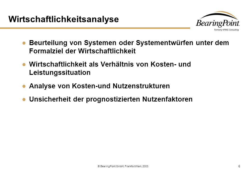 6 © BearingPoint GmbH, Frankfurt/Main, 2003 Wirtschaftlichkeitsanalyse Beurteilung von Systemen oder Systementwürfen unter dem Formalziel der Wirtscha