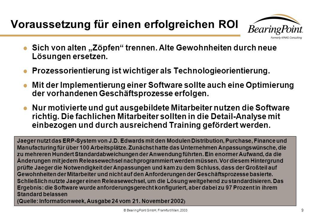 10 © BearingPoint GmbH, Frankfurt/Main, 2003 Investitionskosten Einmalige Investitionskosten für die Beschaffung der Hardware oder wiederkehrende Leasinggebühren.