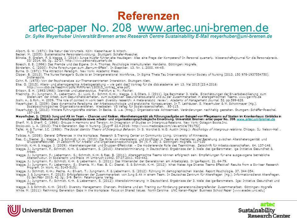 Referenzen artec-paper No. 208 www.artec.uni-bremen.de Dr.