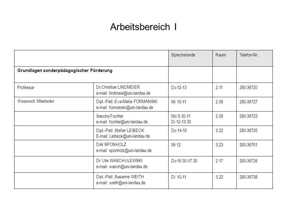 Arbeitsbereich I Pädagogische und soziale Rehabilitation ProfessurDr.