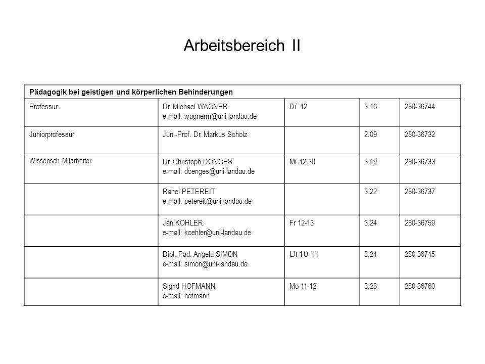 Arbeitsbereich II Pädagogik bei geistigen und körperlichen Behinderungen ProfessurDr. Michael WAGNER e-mail: wagnerm@uni-landau.de Di123.16280-36744 J