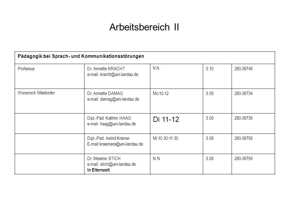 Arbeitsbereich II Pädagogik bei Sprach- und Kommunikationsstörungen ProfessurDr. Annette KRACHT e-mail: kracht@uni-landau.de N.N. 3.10280-36746 Wissen