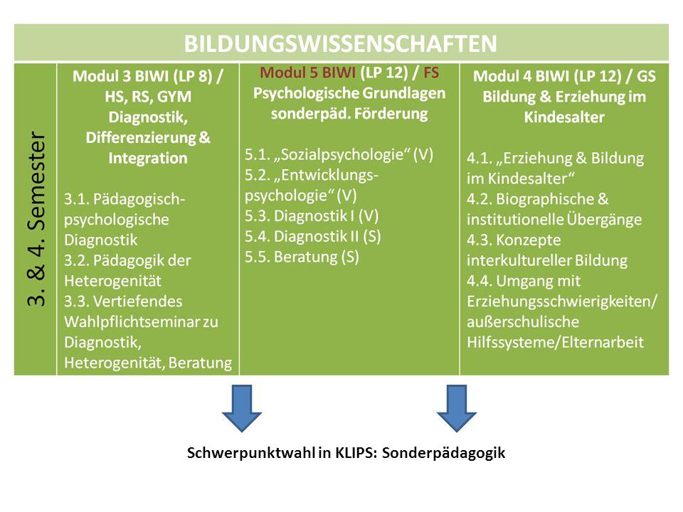 Schwerpunktwahl in KLIPS: Sonderpädagogik