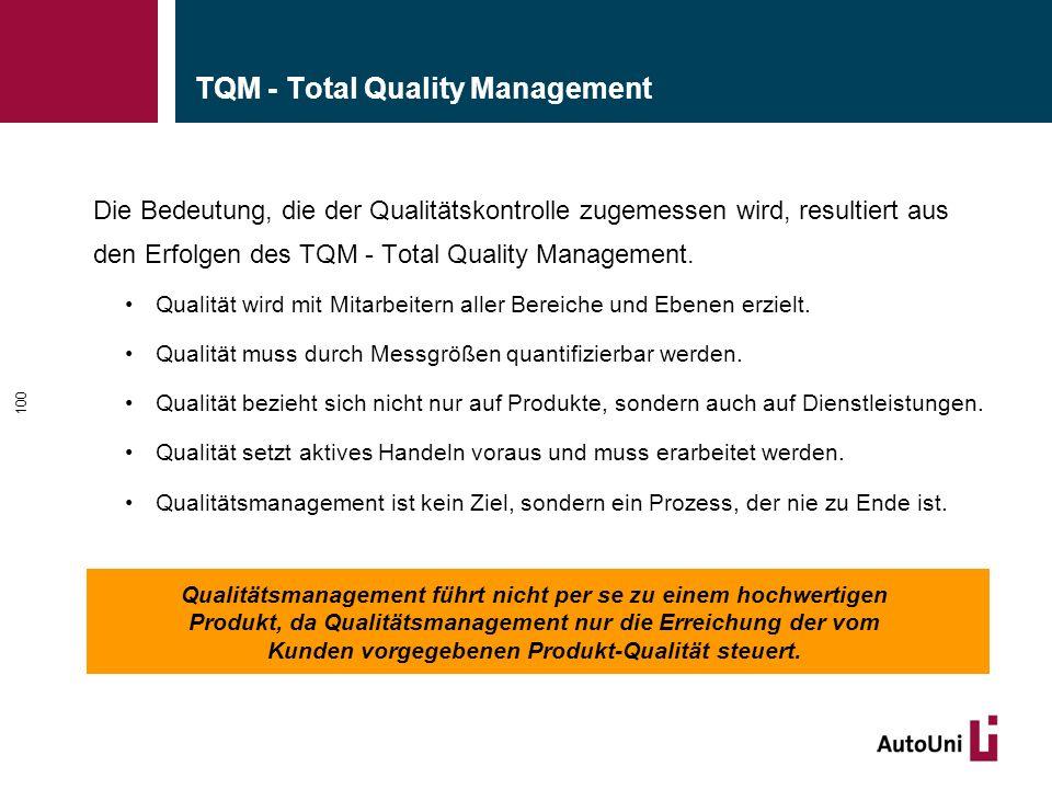 TQM - Total Quality Management Die Bedeutung, die der Qualitätskontrolle zugemessen wird, resultiert aus den Erfolgen des TQM - Total Quality Manageme
