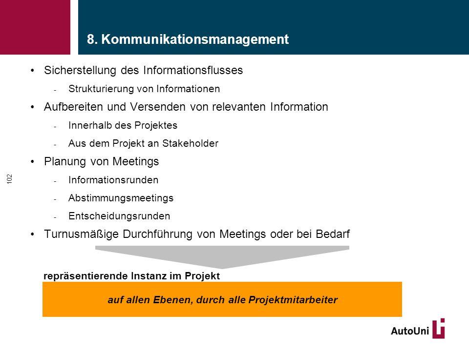 8. Kommunikationsmanagement Sicherstellung des Informationsflusses - Strukturierung von Informationen Aufbereiten und Versenden von relevanten Informa