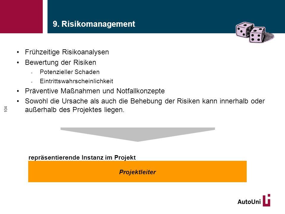 9. Risikomanagement Frühzeitige Risikoanalysen Bewertung der Risiken - Potenzieller Schaden - Eintrittswahrscheinlichkeit Präventive Maßnahmen und Not