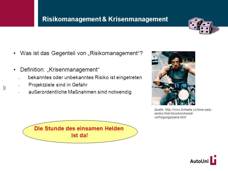 """Risikomanagement & Krisenmanagement Was ist das Gegenteil von """"Risikomanagement""""? Definition: """"Krisenmanagement"""" - bekanntes oder unbekanntes Risiko i"""