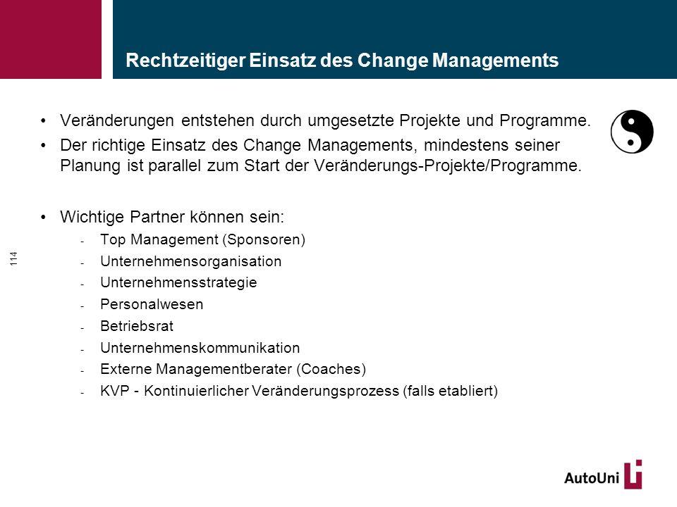 Rechtzeitiger Einsatz des Change Managements Veränderungen entstehen durch umgesetzte Projekte und Programme. Der richtige Einsatz des Change Manageme