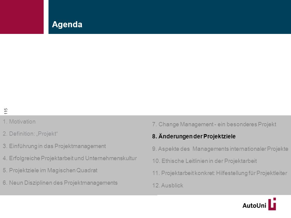 """Kapitel 1 Motivation 115 1. Motivation 2. Definition: """"Projekt"""" 3. Einführung in das Projektmanagement 4. Erfolgreiche Projektarbeit und Unternehmensk"""
