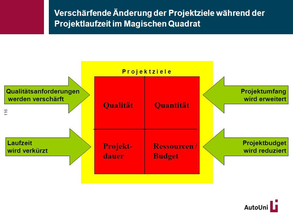 P r o j e k t z i e l e QualitätQuantität Projekt- dauer Ressourcen / Budget Verschärfende Änderung der Projektziele während der Projektlaufzeit im Ma