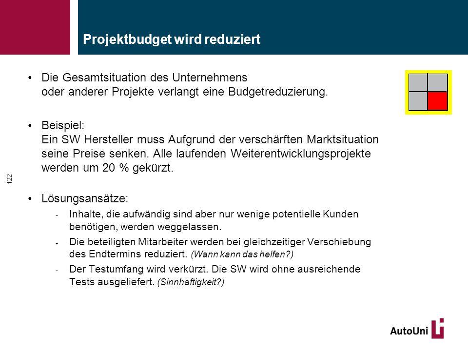 Projektbudget wird reduziert Die Gesamtsituation des Unternehmens oder anderer Projekte verlangt eine Budgetreduzierung. Beispiel: Ein SW Hersteller m