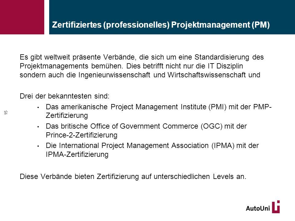 Zertifiziertes (professionelles) Projektmanagement (PM) Es gibt weltweit präsente Verbände, die sich um eine Standardisierung des Projektmanagements b