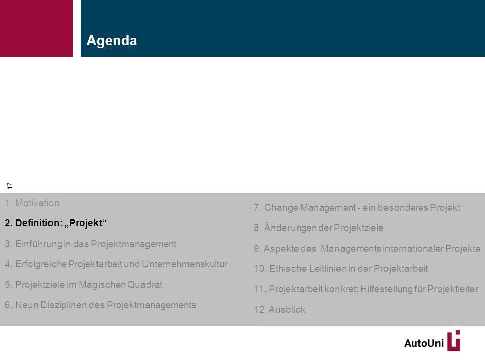 """Kapitel 1 Motivation 17 1. Motivation 2. Definition: """"Projekt"""" 3. Einführung in das Projektmanagement 4. Erfolgreiche Projektarbeit und Unternehmensku"""
