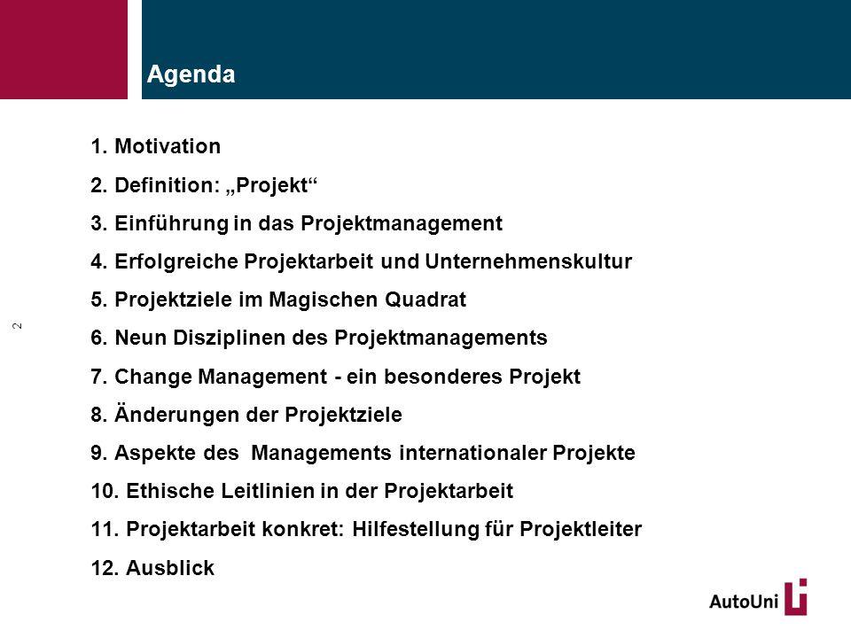 """1. Motivation 2. Definition: """"Projekt"""" 3. Einführung in das Projektmanagement 4. Erfolgreiche Projektarbeit und Unternehmenskultur 5. Projektziele im"""