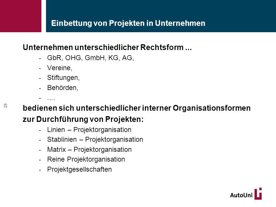 Einbettung von Projekten in Unternehmen Unternehmen unterschiedlicher Rechtsform... - GbR, OHG, GmbH, KG, AG, - Vereine, - Stiftungen, - Behörden, -..