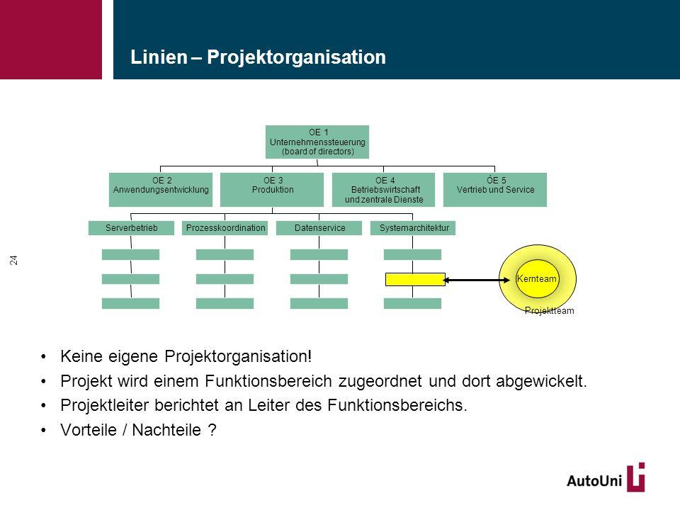 Linien – Projektorganisation Keine eigene Projektorganisation! Projekt wird einem Funktionsbereich zugeordnet und dort abgewickelt. Projektleiter beri