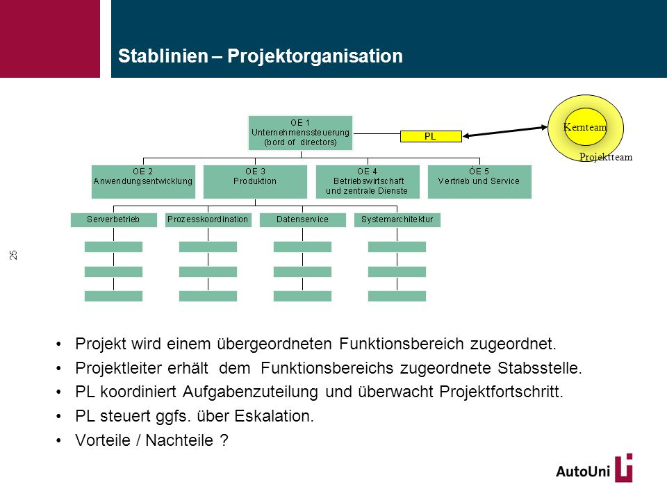 Stablinien – Projektorganisation Projekt wird einem übergeordneten Funktionsbereich zugeordnet. Projektleiter erhält dem Funktionsbereichs zugeordnete