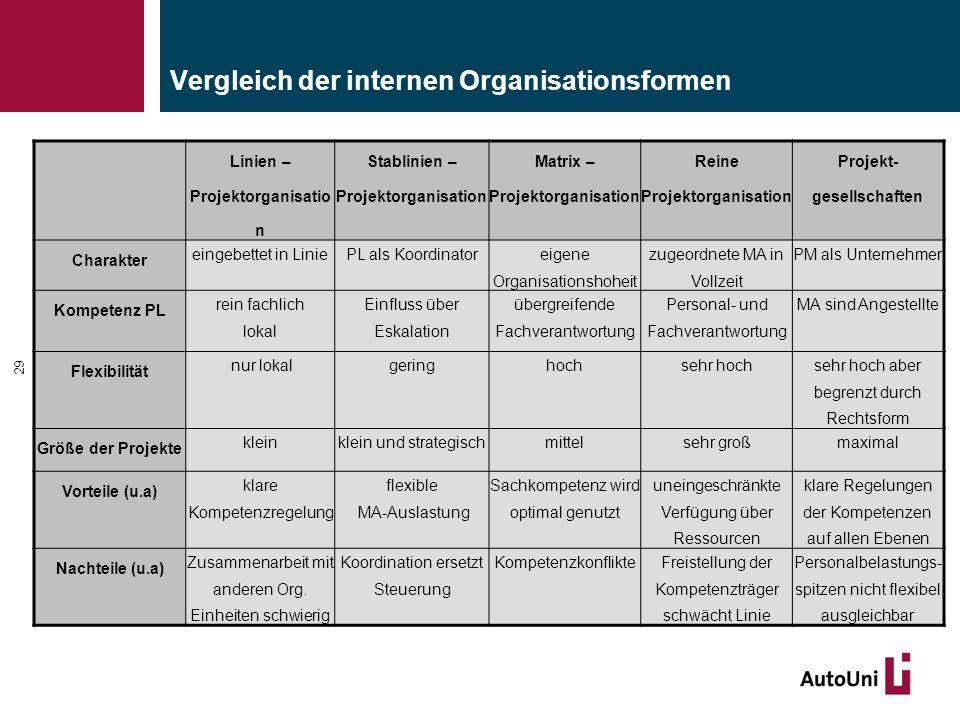 Vergleich der internen Organisationsformen 29 Linien – Projektorganisatio n Stablinien – Projektorganisation Matrix – Projektorganisation Reine Projek