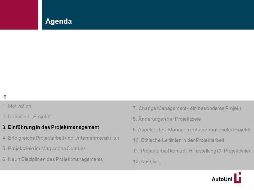 """Kapitel 1 Motivation 30 1. Motivation 2. Definition: """"Projekt"""" 3. Einführung in das Projektmanagement 4. Erfolgreiche Projektarbeit und Unternehmensku"""
