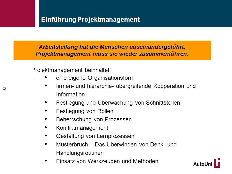 Arbeitsteilung hat die Menschen auseinandergeführt, Projektmanagement muss sie wieder zusammenführen. Einführung Projektmanagement 32 Projektmanagemen