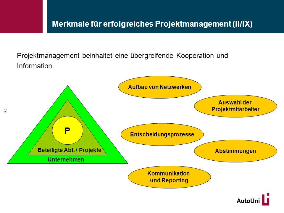 Merkmale für erfolgreiches Projektmanagement (II/IX) 34 Projektmanagement beinhaltet eine übergreifende Kooperation und Information. Kommunikation und