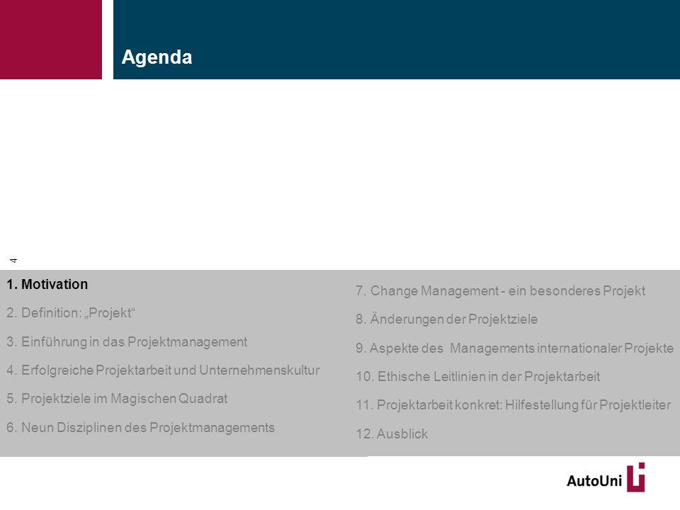 """Kapitel 1 Motivation 4 1. Motivation 2. Definition: """"Projekt"""" 3. Einführung in das Projektmanagement 4. Erfolgreiche Projektarbeit und Unternehmenskul"""