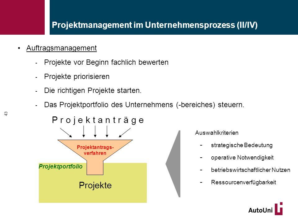 Projektmanagement im Unternehmensprozess (II/IV) Auftragsmanagement - Projekte vor Beginn fachlich bewerten - Projekte priorisieren - Die richtigen Pr
