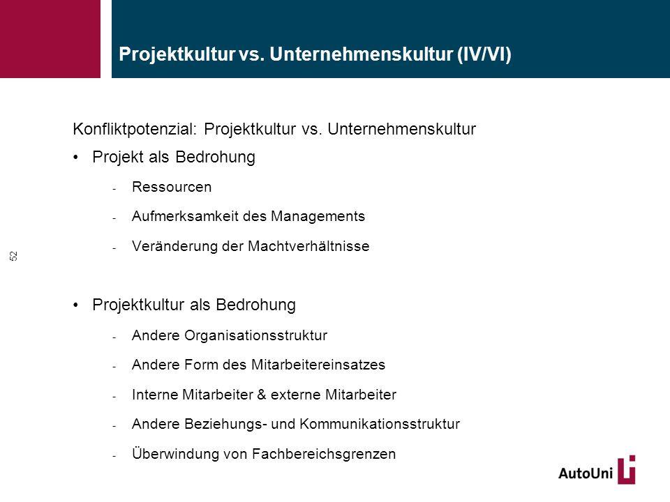 Konfliktpotenzial: Projektkultur vs. Unternehmenskultur Projekt als Bedrohung - Ressourcen - Aufmerksamkeit des Managements - Veränderung der Machtver