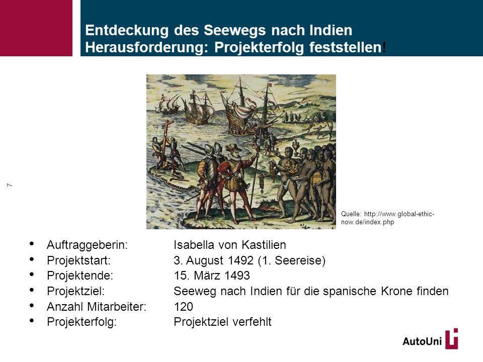 Entdeckung des Seewegs nach Indien Herausforderung: Projekterfolg feststellen! Auftraggeberin:Isabella von Kastilien Projektstart: 3. August 1492 (1.