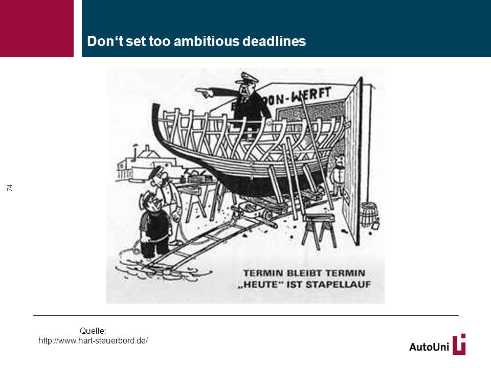 Don't set too ambitious deadlines 74 Quelle: http://www.hart-steuerbord.de/
