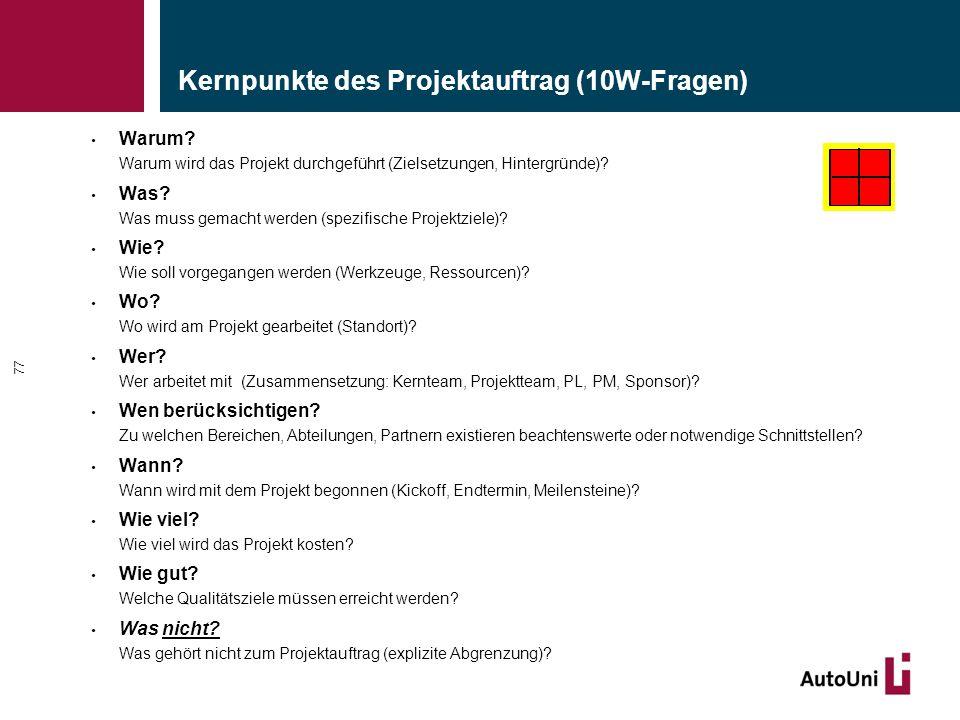 Kernpunkte des Projektauftrag (10W-Fragen) Warum? Warum wird das Projekt durchgeführt (Zielsetzungen, Hintergründe)? Was? Was muss gemacht werden (spe