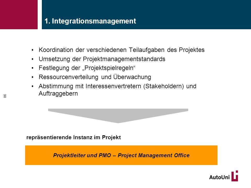 """1. Integrationsmanagement Koordination der verschiedenen Teilaufgaben des Projektes Umsetzung der Projektmanagementstandards Festlegung der """"Projektsp"""