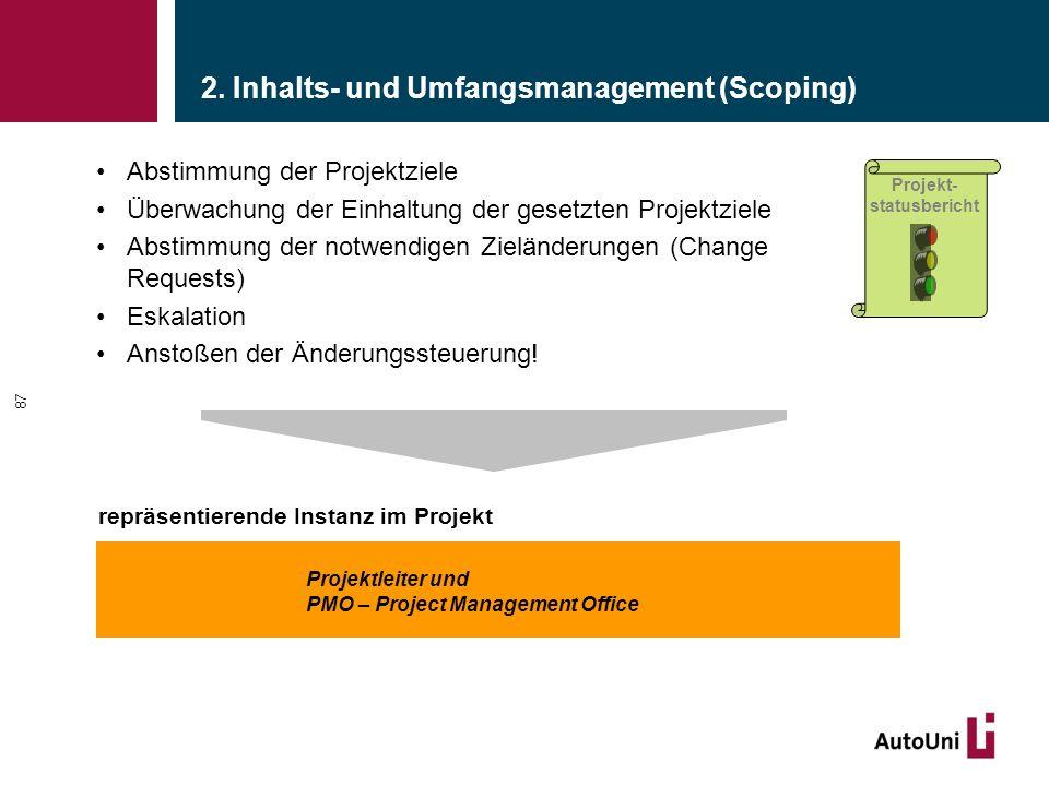 2. Inhalts- und Umfangsmanagement (Scoping) Abstimmung der Projektziele Überwachung der Einhaltung der gesetzten Projektziele Abstimmung der notwendig
