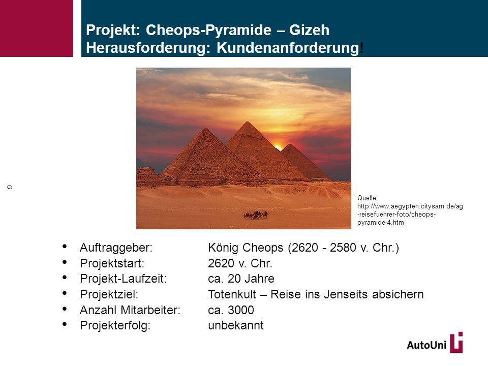 Projekt: Cheops-Pyramide – Gizeh Herausforderung: Kundenanforderung! Auftraggeber: König Cheops (2620 - 2580 v. Chr.) Projektstart: 2620 v. Chr. Proje