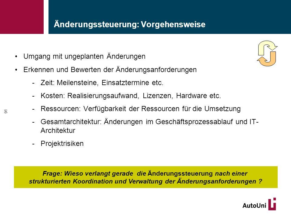 Änderungssteuerung: Vorgehensweise Umgang mit ungeplanten Änderungen Erkennen und Bewerten der Änderungsanforderungen -Zeit: Meilensteine, Einsatzterm