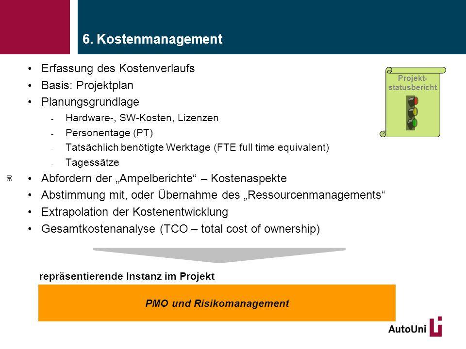 6. Kostenmanagement Erfassung des Kostenverlaufs Basis: Projektplan Planungsgrundlage - Hardware-, SW-Kosten, Lizenzen - Personentage (PT) - Tatsächli