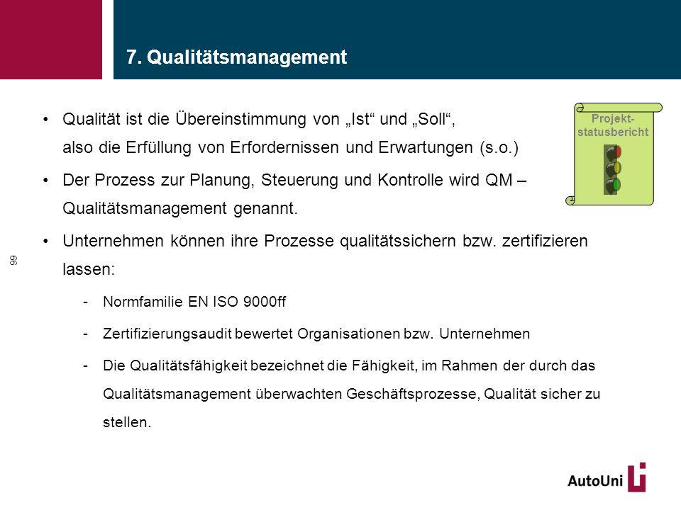 """7. Qualitätsmanagement Qualität ist die Übereinstimmung von """"Ist"""" und """"Soll"""", also die Erfüllung von Erfordernissen und Erwartungen (s.o.) Der Prozess"""