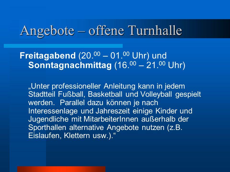 """Angebote – offene Turnhalle Freitagabend (20. 00 – 01. 00 Uhr) und Sonntagnachmittag (16. 00 – 21. 00 Uhr) """"Unter professioneller Anleitung kann in je"""