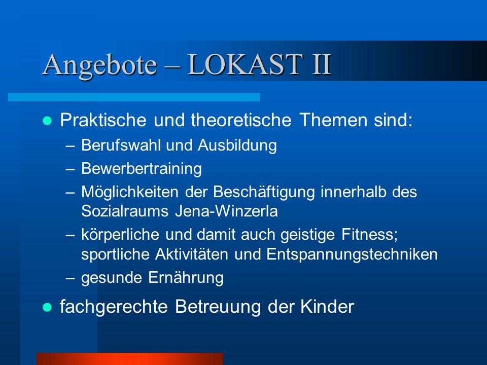 Angebote – LOKAST II Praktische und theoretische Themen sind: –Berufswahl und Ausbildung –Bewerbertraining –Möglichkeiten der Beschäftigung innerhalb