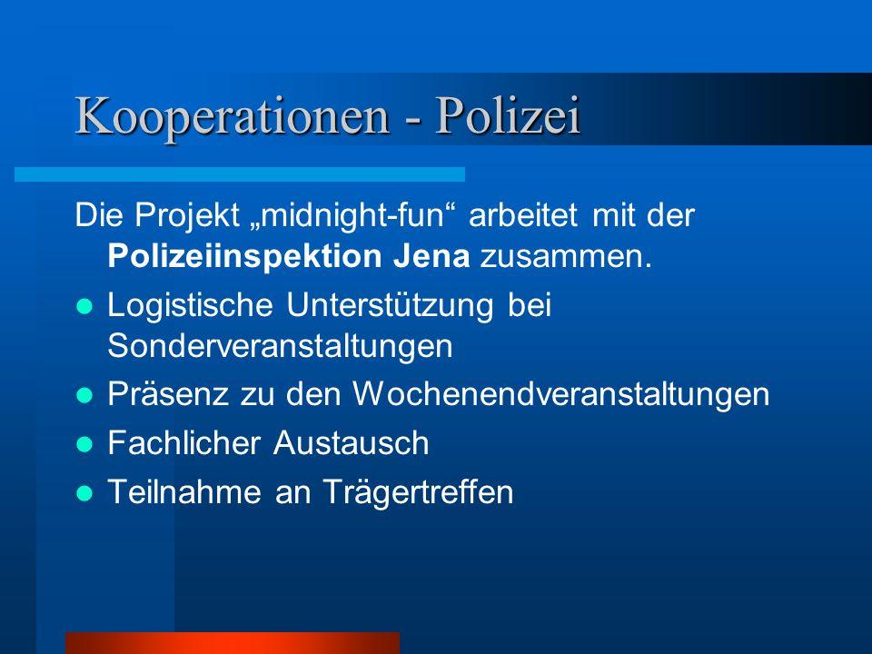 """Kooperationen - Polizei Die Projekt """"midnight-fun"""" arbeitet mit der Polizeiinspektion Jena zusammen. Logistische Unterstützung bei Sonderveranstaltung"""