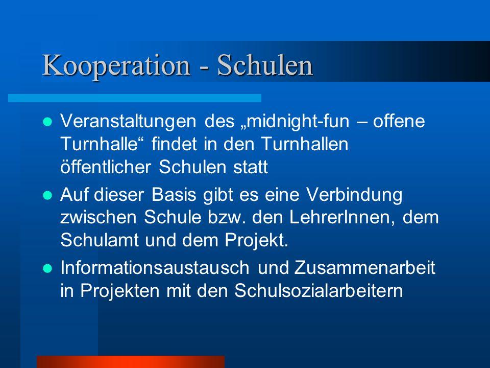 """Kooperation - Schulen Veranstaltungen des """"midnight-fun – offene Turnhalle"""" findet in den Turnhallen öffentlicher Schulen statt Auf dieser Basis gibt"""