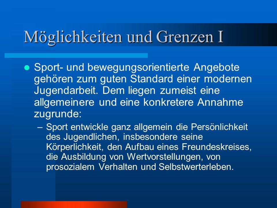 Möglichkeiten und Grenzen I Sport- und bewegungsorientierte Angebote gehören zum guten Standard einer modernen Jugendarbeit. Dem liegen zumeist eine a